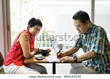 Senior Adult Couple Dating Cafe Happiness Concept