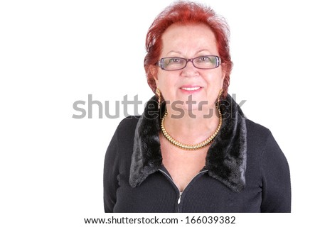 Senior adult lady looking in to your eyes and showing understanding and welcoming body language - stock photo