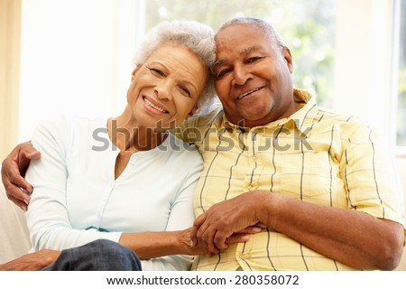 Senior African American couple at home - stock photo
