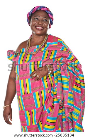 senior african woman in traditional Ghanaian clothes - stock photo