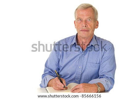 Senior Architect loking/showing architectural drawings. Planning - stock photo