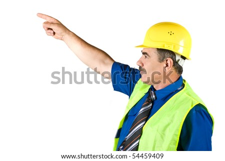 Senior architect man pointing to upwards isolated on white background ,copy space for text - stock photo