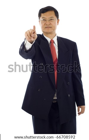 Senior Asian business man pressing a touchscreen button isolated over white background - stock photo