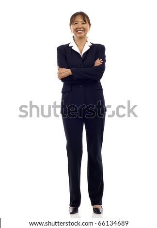 Senior Asian business woman smiling , full length portrait isolated on white