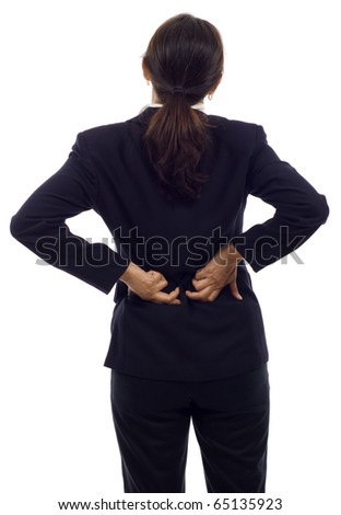 Senior Asian businesswoman with back pain isolated over white background - stock photo