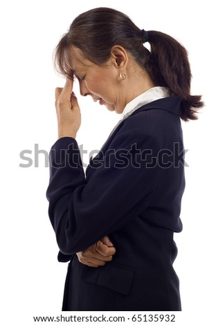 Senior Asian businesswoman with headache isolated over white background - stock photo