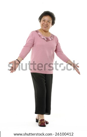 Senior asian woman shrug her shoulders. Isolated on white - stock photo