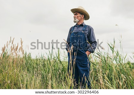 Senior Bearded Male Farmer with Straw Hat Standing at the Farm and Looking Into the Distance Seriously. - stock photo
