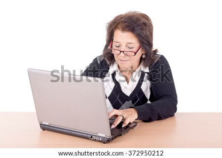 senior beautiful woman with computer isolated in white