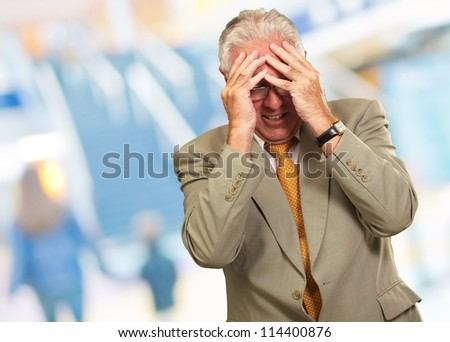 Senior Business Man In Tension, Indoor - stock photo