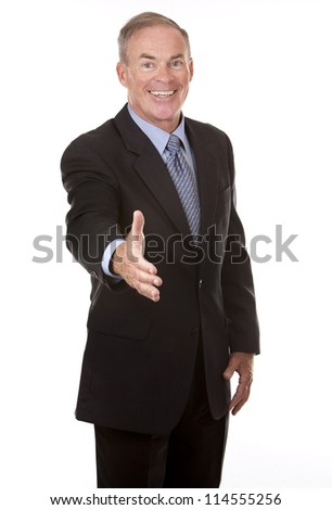 senior business man showing handshake gesture - stock photo