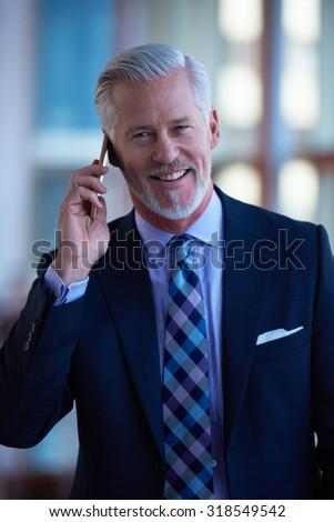 senior business man talk on mobile phone  at modern bright office interior - stock photo