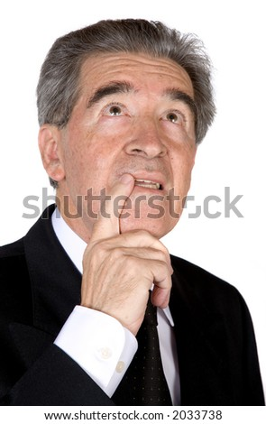 senior business man with a pensive expression over a white background