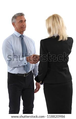 Senior business partners shaking hands - stock photo