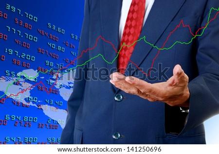 Senior businessman analyst stock exchange data graph, Stock exchange analyst concept - stock photo