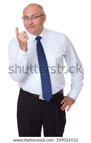 Senior businessman give a warning to someone, isolated on white - stock photo