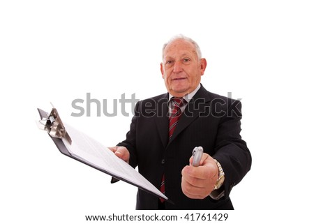 Senior businessman giving you the contract to sign (isolated on white) - stock photo