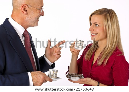 senior businessman having a conversation with a young blonde female drinking an espresso and smiling (isolated on white) - stock photo