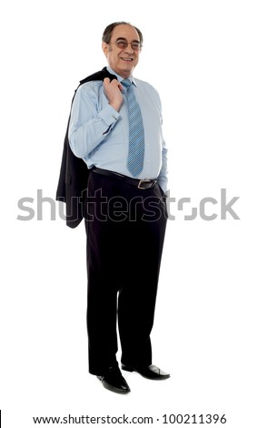 Senior businessman holding coat over his shoulders isolated on white