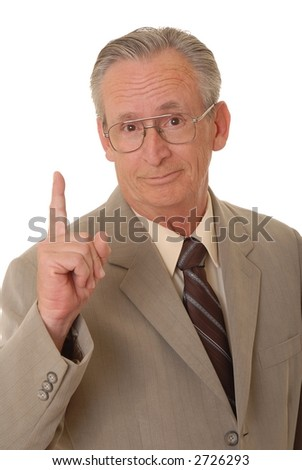 Senior businessman holding up the we are number one finger - stock photo