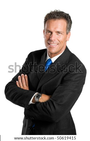 Senior businessman looking at camera with a bright smile, isolated on white background - stock photo