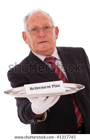 Senior businessman offering you the best solution for a retirement plan