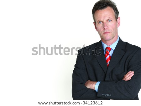 senior businessman on white background - stock photo