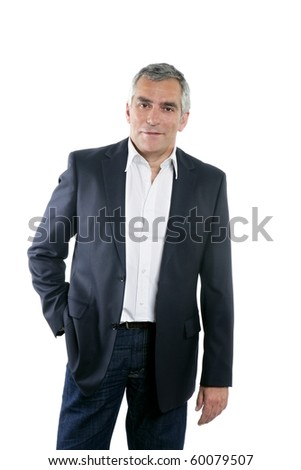 senior businessman portrait black suit gray hair over white background - stock photo