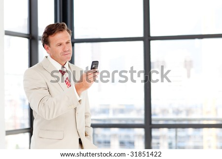Senior businessman texting on his mobile phone with copy-space - stock photo
