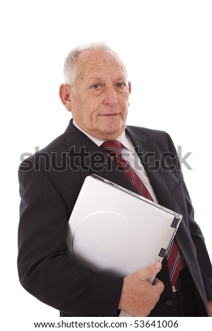 senior businessman with a laptop (isolated on white) - stock photo