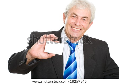 Senior businessman with his card on a white background - stock photo