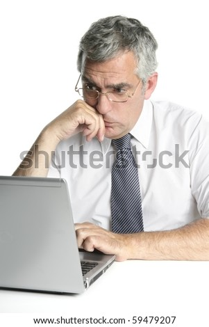 senior businessmen focused on laptop work computer white background - stock photo