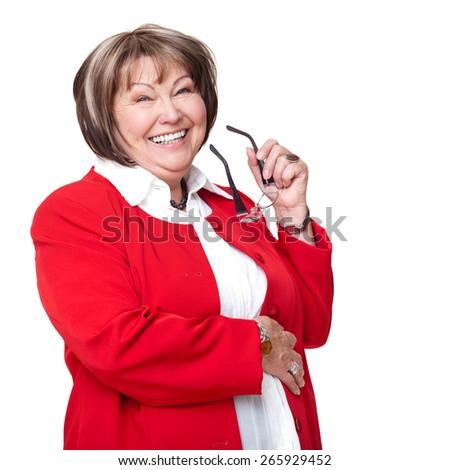 senior businesswoman on isolated background - stock photo