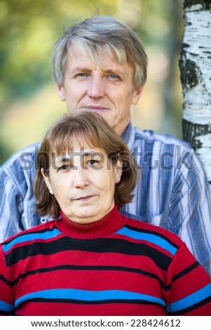 Senior Caucasian couple head and shoulders portrait - stock photo