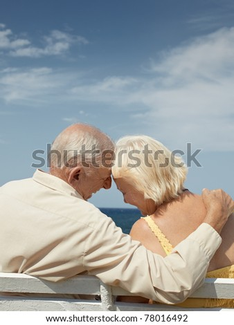senior caucasian couple sitting on bench near the sea and hugging. Vertical shape, rear view, copy space - stock photo
