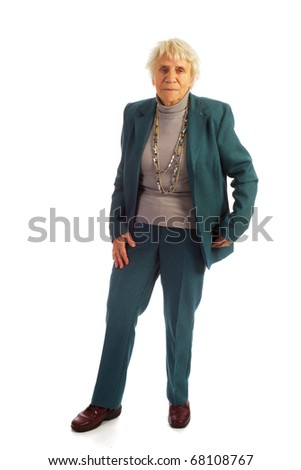 Senior caucasian woman full length in the studio