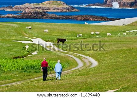 Senior citizen take a walk at the coast - stock photo