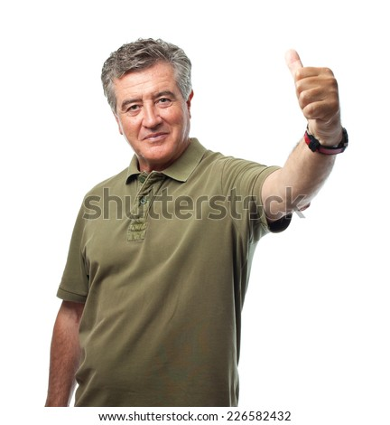 senior cool man all righ sign - stock photo