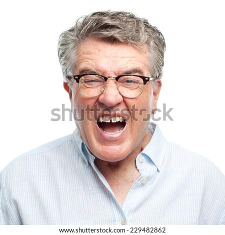 senior cool man angry - stock photo