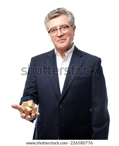 senior cool man challenge - stock photo