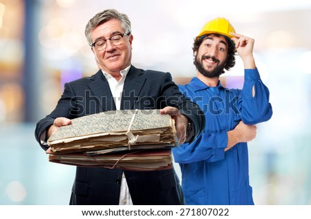 senior cool man offering papers - stock photo