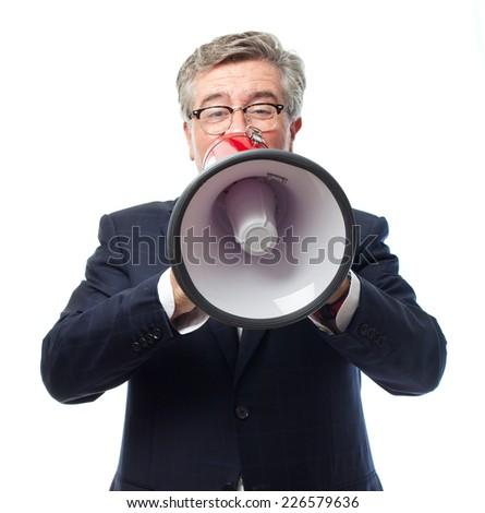 senior cool man shouting - stock photo