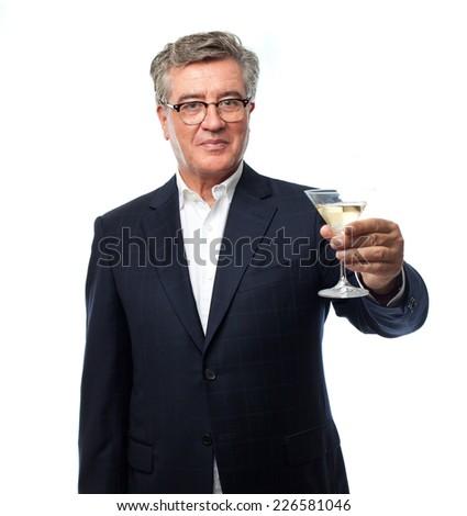 senior cool man toast  - stock photo