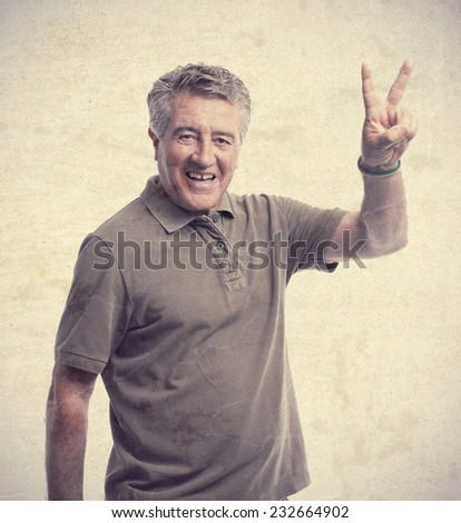 senior cool man victory sign - stock photo