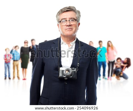 senior cool man with a photo camera - stock photo