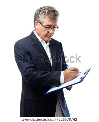 senior cool man with a test - stock photo