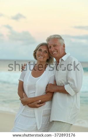 Senior couple at sea - stock photo