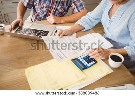 Senior couple checking their bills at home - stock photo