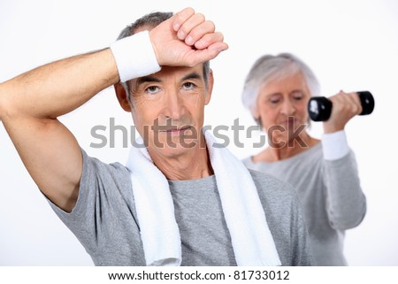 senior couple doing fitness - stock photo