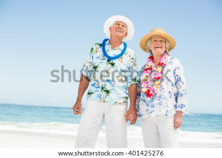 Senior couple holding hands on the beach on a sunny day - stock photo